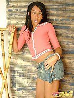 Naughty TS Isabelly stripping her skirt