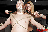 Bound slave forced to suck shemale cock
