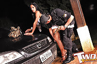 Shemales amusing with a policeman