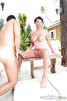 Sultry brunette pounds man outdoors