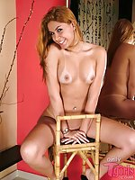 Sexy Shemale With Tan Lines Jerking On Chair