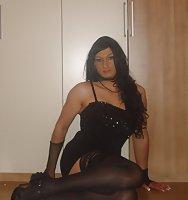 Smoking bitch in black lingerie