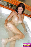 Hot TS Demonstrating Strip-tease In The Tub1