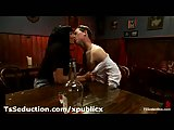 Dude sucks thick cock of tranny in bar