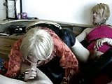 Amateur threesome with mature crossdressers