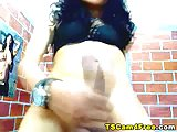 Lovely Latina Shemale Masturbates