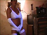 German CD in white lingerie