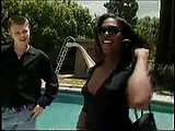 Sweet ebony tranny doll fucking by a pool