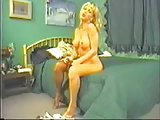 Hot blonde TS wanks off her prick in pantyhose