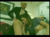 Blonde tranny fucks a girl on a sofa