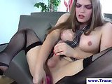 Tranny shemale amateur in lingerie toy solo play