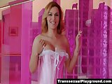 TS Gaby teases in her pink lingerie