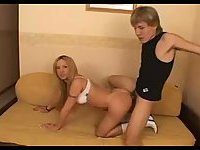 Guy and tranny share one bitch