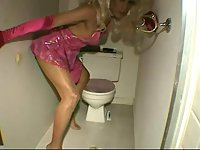 Blonde Transvestite Analed In Toilet