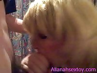 Blonde Sex Toy eats dick and cums