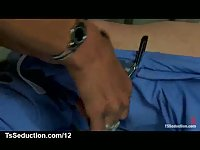 Blonde tranny fucks bound guy in a hospital