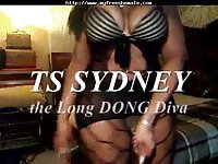 Busty TS Sydney jerks off her big cock