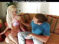 TS Beautiful Blonde Sucks Big Dick