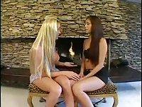 Blonde Tgirl drills brunette