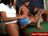 Horny trannies gets deepthroat by their man toy
