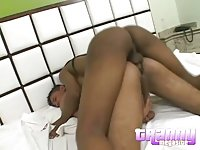 Black Tgirl with guy ass fucking each other