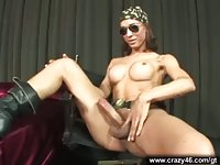 Hot Tranny shows her cock
