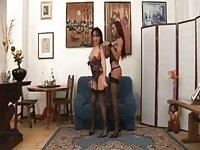 Tranny & girl in stockings drills hot guy