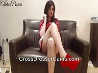 Sexy crossdresser in red dress