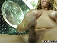 Gorgeous transsexual bombshell Flavia Monteiro wanks her meaty cock and cums