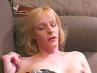Sexy blonde in black lingerie wanks off