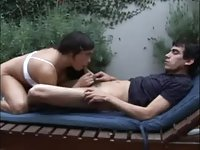 Busty tranny gets sucked outdoors & fucks guy on the bed