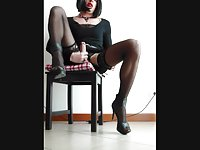 Sexy crossdresser masturbation