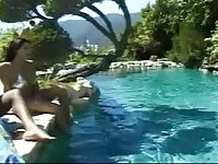 Vintage Tgirls gangbang dude by the poolside