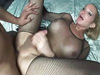 Titty Blonde Tranny In Fishnet Gets Pounded