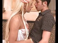 TS doll in white lingerie fucks a guy