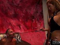Lingeried tranny mistress dominates a chap