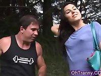 Sexy tranny sucking fat cock