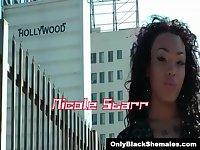 Chocolate TS Nicole Starr jerks her meat