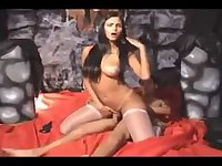Busty brunette tranny and guy have sex