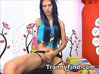 Tranny wanking off