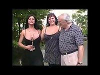 Crazy foursome with busty shemales
