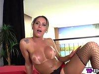 Stockings tgirl cums hard