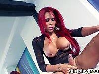Red head transgirl Erika in lustful solo masturbation and cum jizzed