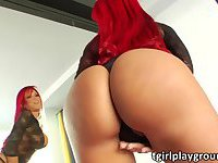 Red head transgirl Erika in lustful solo masturbation and cum jizzed