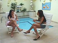 Latina tranny and chick twosome by a pool