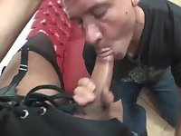 Big cock brunette fucks guy