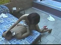 Latina nurse fucks guy poolside