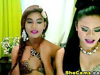 Two Horny Shemales Anal Fucking on Cam