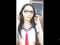 Luna Trap schoolgirl plays with her cute asspussy