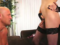 Shemale in sexy stockings is riding  a dick